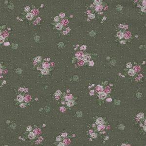 Stof a/s Vintage Roses groen roze roosje trosje