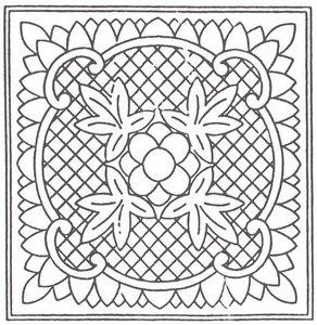 Wholecloth Mini Quilt Top Prairie Flower ecru