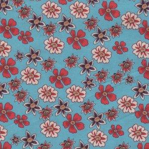 Eyelike Fabrics Hindelopia II blauw rode bloemen