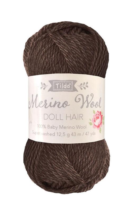 Tilda wol voor poppenhaartjes Dark Brown
