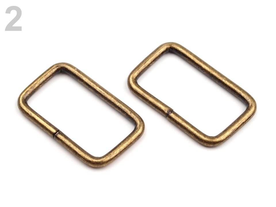 Vierkante ring 25 mm brons