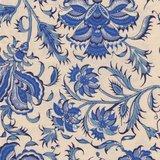 Dutch Heritage Gujarat ecru grote bloem blauw_