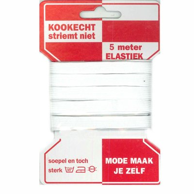 Elastiek  wit 10mm