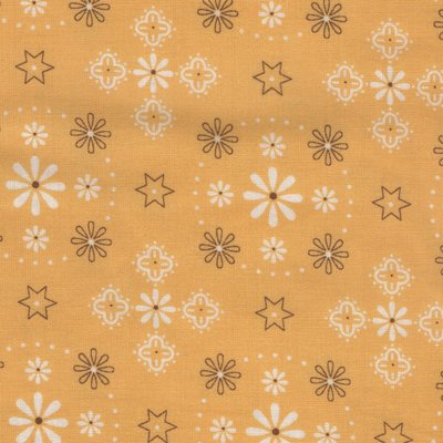 Riley Blake  geel met ecru/bruin werkje dubbelbreed