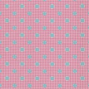 Tilda Happy Campers roze blauw stip