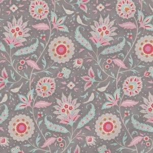 Tilda Bon Voyage grijs roze bloemtak