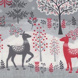 Makeower Christmas Scandi grijs border stof