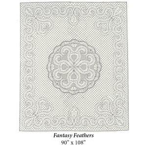 Wholecloth Quilt Top Fantasy Feathers naturel