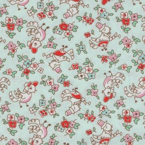Penny Rose Fabrics Little Dolly mintgroen met kippetjes